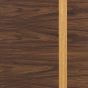 A walnut timber door with oak inlay