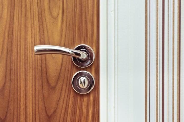 Chrome bathroom door handle