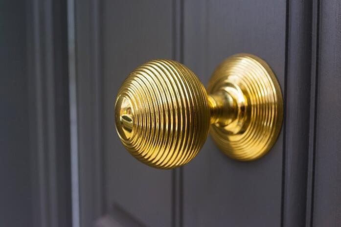 Polished brass door knob