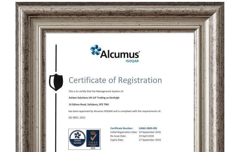 Denleigh is ISO9001:2015 UKAS certified